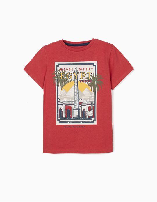 T-shirt for Boys, 'Egypt Tours', Dark Red