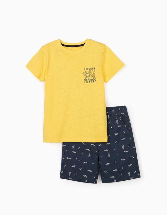 T-shirt e Calções para Menino 'Explore', Amarelo/Azul