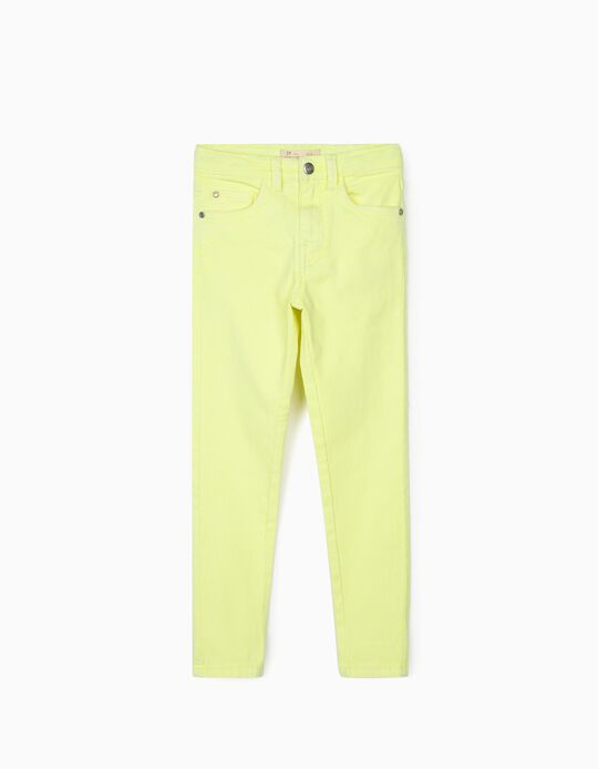 Twill Trousers for Girls 'Cosmic World', Fluorescent Yellow