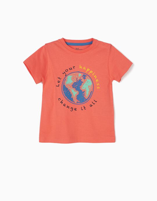 Camiseta para Bebé Niño 'Hapiness', Coral
