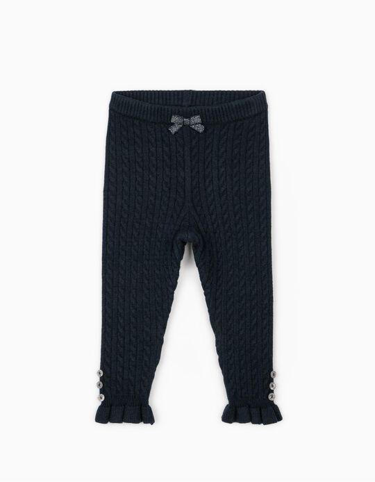 Pantalón de Punto para Bebé Niña, Azul Oscuro