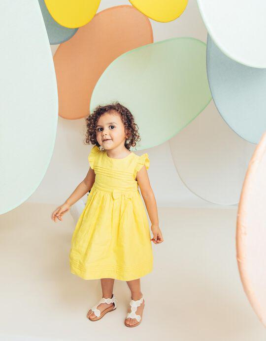 Vestido para Bebé Niña con Lacito y Volantes, Amarillo