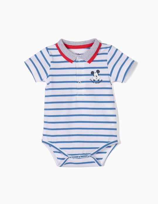 Body-Polo para Recém-Nascido 'Mickey', Azul e Branco