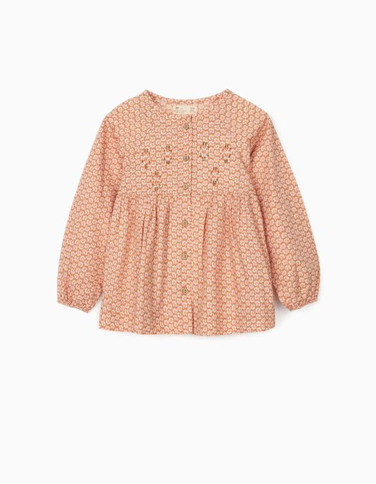 Floral Blouse for Girls, Light Brown