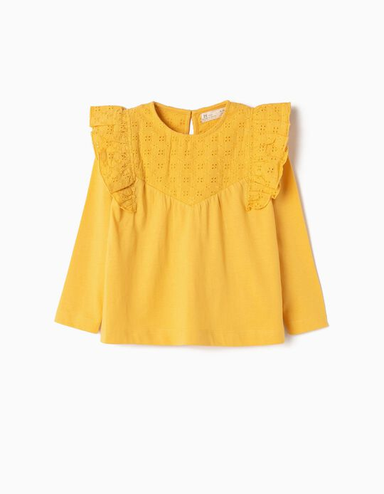 Long-sleeve Top for Girls 'Ruffles & Embroideries', Yellow