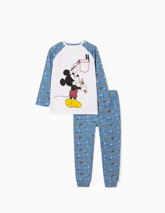 Pijama para Menino 'Mickey Artist', Branco/Azul