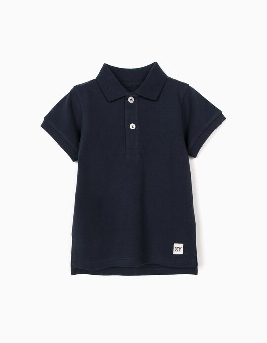 Short Sleeve Polo Shirt for Baby Boys, Dark Blue