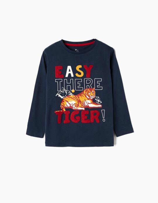 Camiseta de Manga Larga para Niño 'Tiger', Azul Oscuro