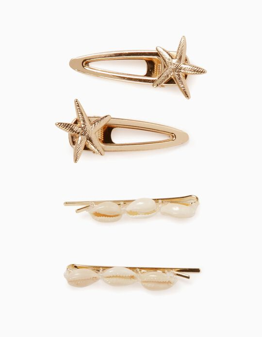 2 Slides + 2 Hair Clips for Girls, 'Sea Elements', Gold