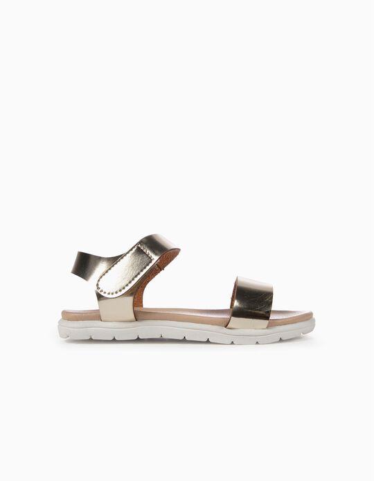 Sandálias Verniz para Menina, Dourado
