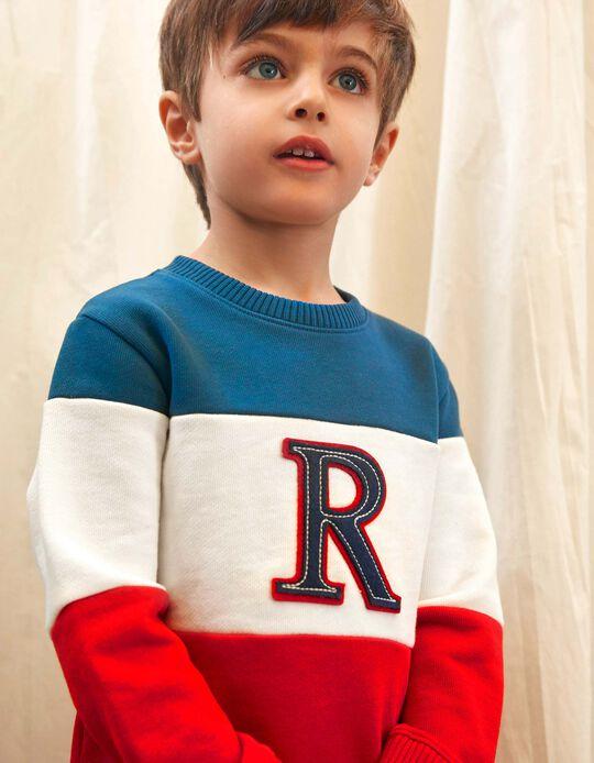Sudadera para Niño 'R', Azul/Blanco/Rojo