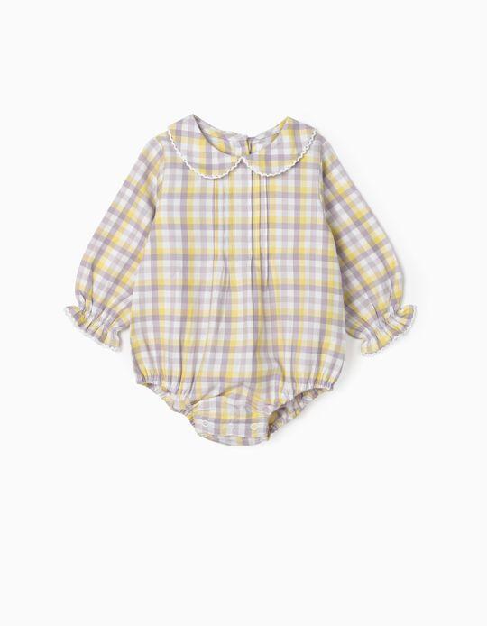 Body-chemisier à carreaux nouveau-née, blanc/lilas/jaune