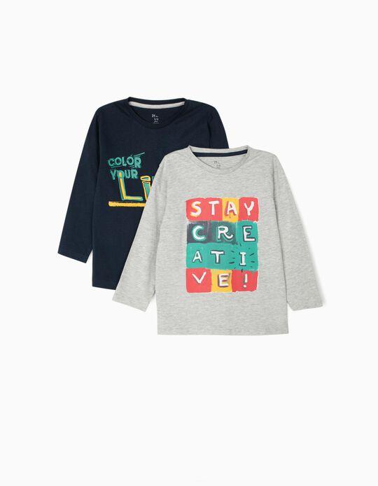2 Camisetas de Manga Larga para Niño 'Stay Creative', Gris/Azul