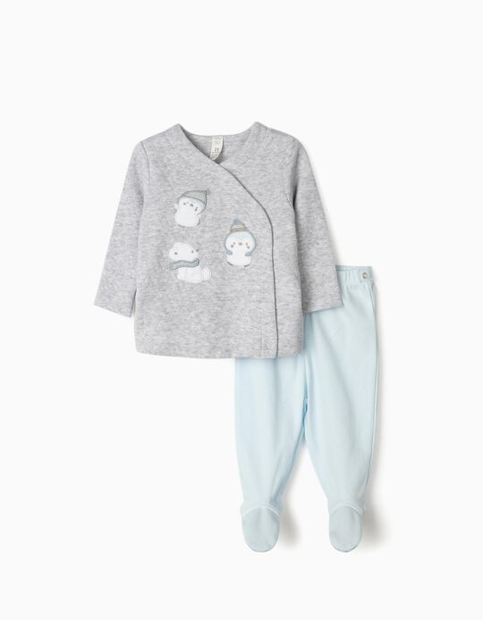 Pyjamas for Newborn Baby Boys, 'Little Animals', Grey/Blue
