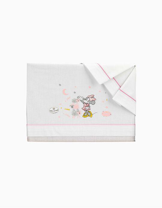 Lençóis De Cama 120x60 cm Minnie Disney Branco/Rosa 3 peças