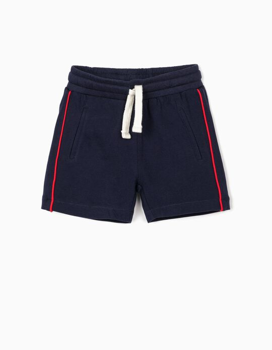Piqué Knit Sports Shorts for Baby Boys, Dark Blue