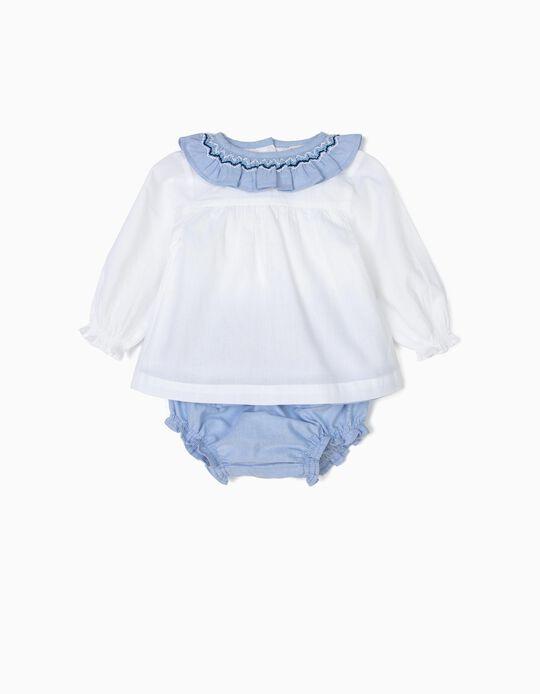 Blusa e Tapa-Fraldas para Recém-Nascida Folhos, Branco e Azul