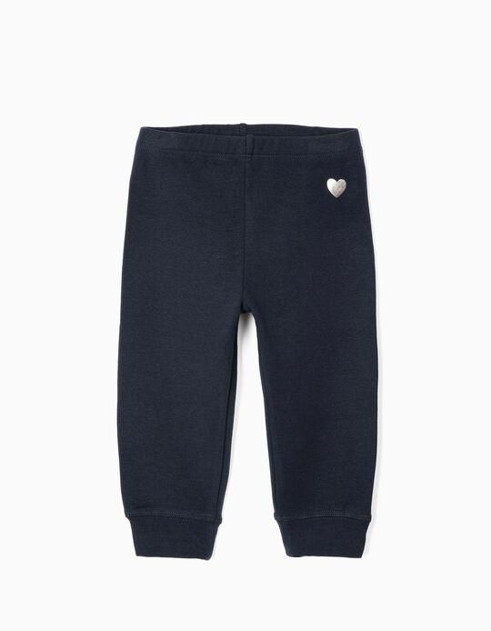 Pantalon de sport bébé fille 'Heart', bleu foncé
