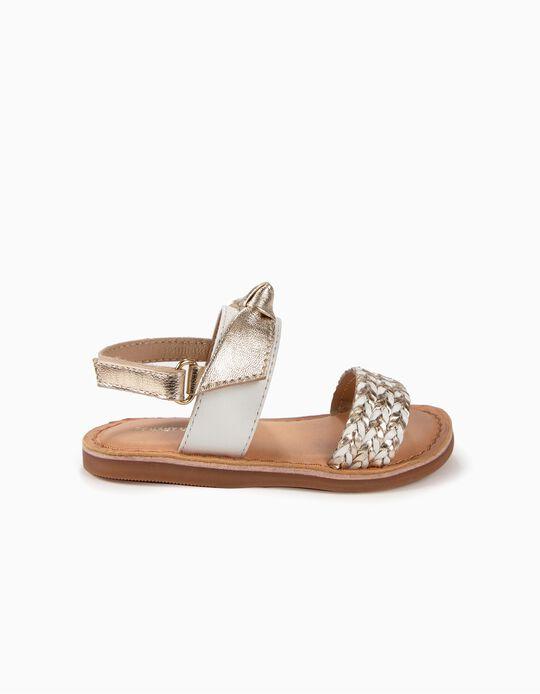 Sandálias de Pele para Menina com Laços, Branco