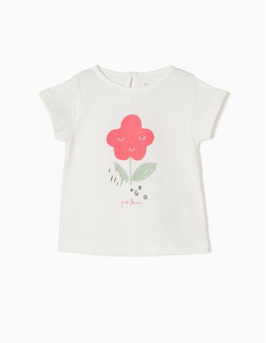 T-shirt Branca Pink Flowers