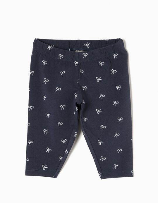 Capri Leggings for Girls 'Bows', Dark Blue