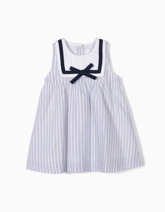 Vestido y Cubrepañal para Recién Nacida 'Sailor', Azul y Blanco