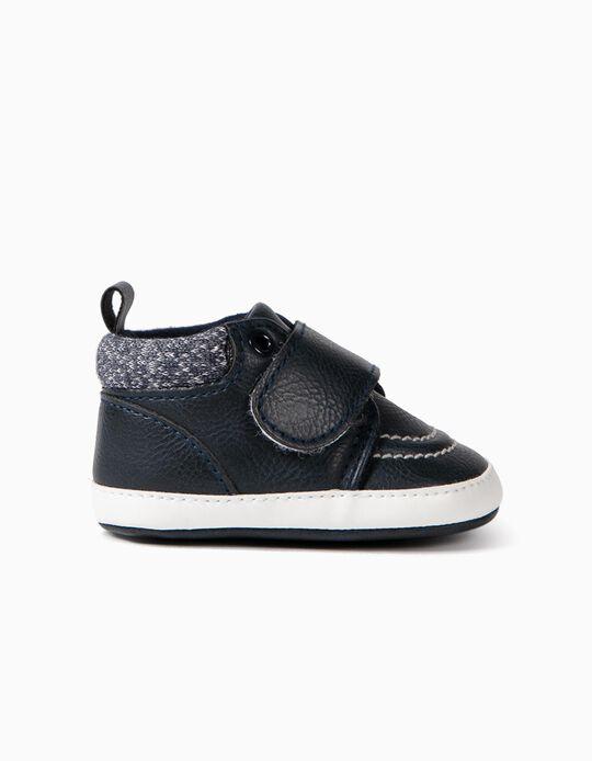 Zapatos con Cierre Autoadherente para Recién Nacido, Azul Oscuro