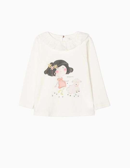 Camiseta de Manga Larga Algodón Orgánico para Bebé Niña 'BF', Blanca