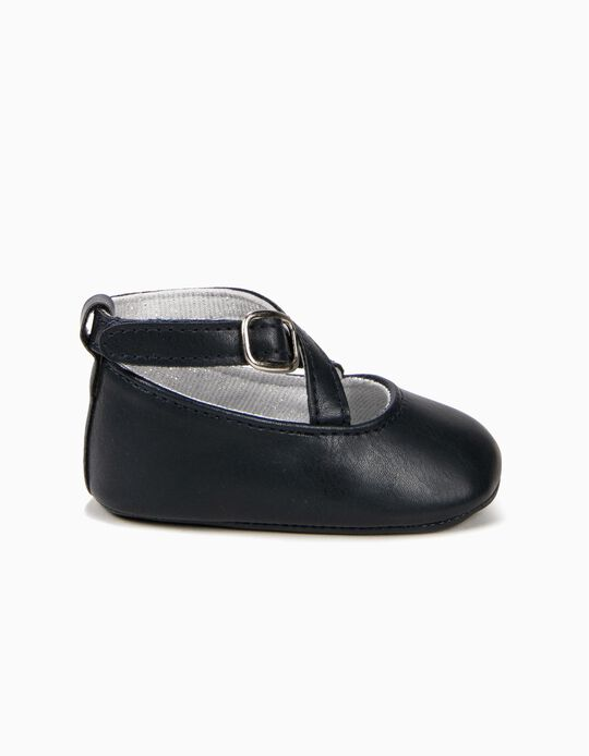 Sapatos para Recém-Nascida com Tiras Cruzadas, Azul Escuro