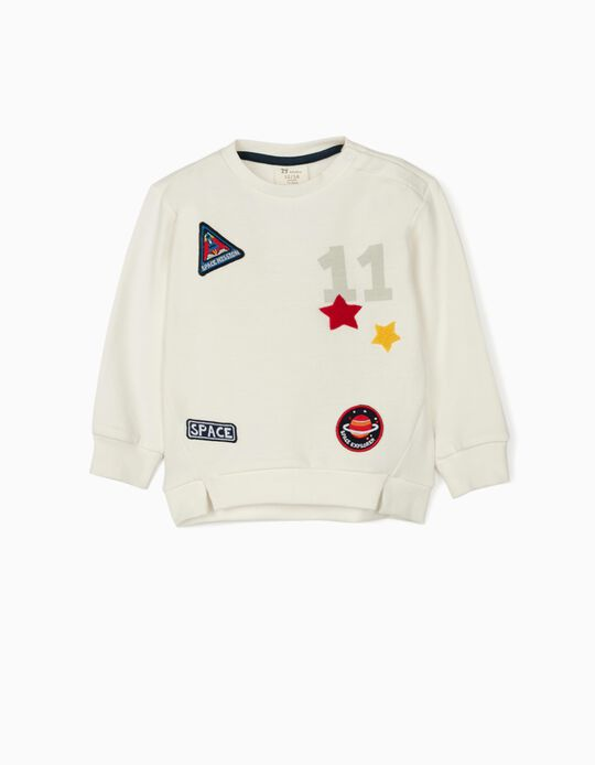 Sweatshirt for Baby Boys, 'Space', White