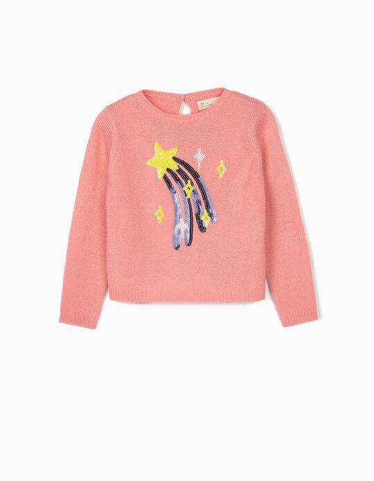 Camisola de Malha para Menina 'Stars', Rosa