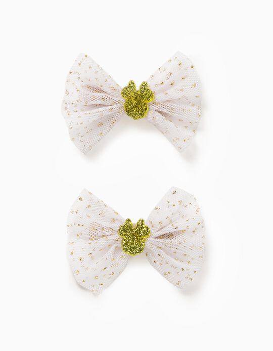 2 Horquillas para Niña 'Minnie', Blanco/Dorado