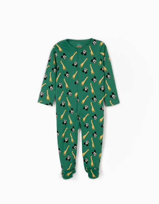 Sleepsuit for Baby Boys, 'Mickey & Giraffes', Green