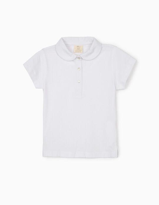 Short Sleeve Polo Shirt for Girls, White