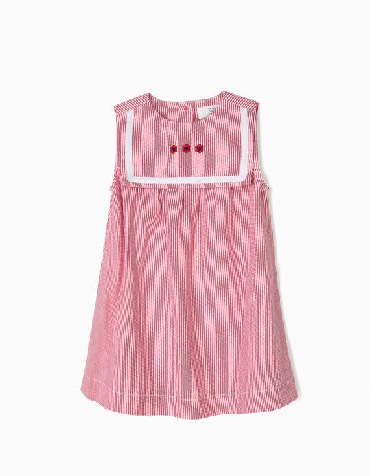 Vestido para Bebé Niña a Rayas, Rojo y Blanco
