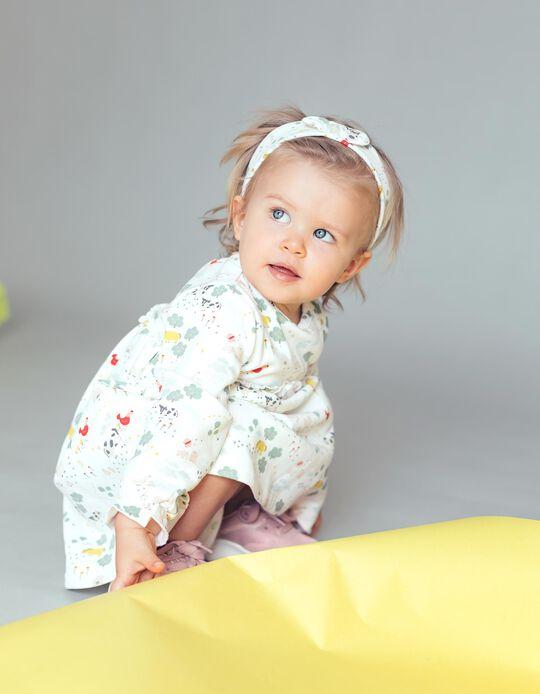 Vestido + Fita de Cabelo para Bebé Menina, Bege