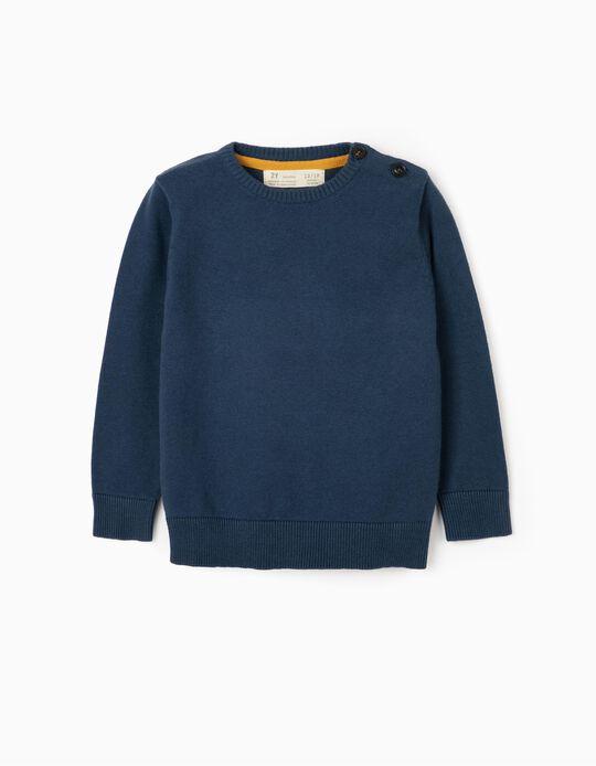 Camisola de Malha para Bébé Menino, Azul