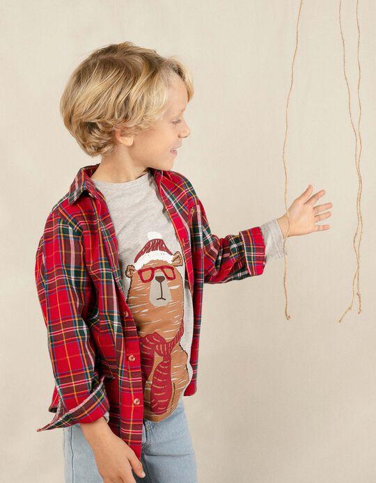 Camiseta de Manga Larga para Niño 'Christmas Bear', Gris