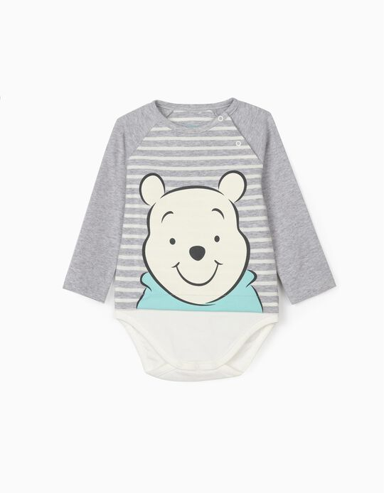 Body para Recém-Nascido 'Winnie the Pooh', Cinza/Branco