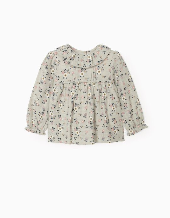 Floral Blouse for Baby Girls, Grey