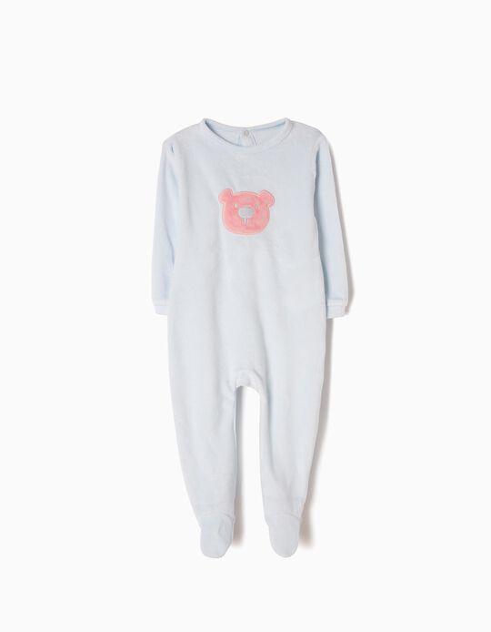 Babygrow Veludo para Bebé Menina 'Teddy Bear',  Azul Claro