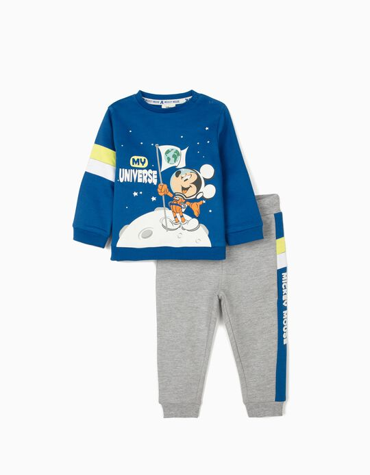 Tracksuit for Baby Boys, 'Mickey Mouse - My Universe', Blue/Grey