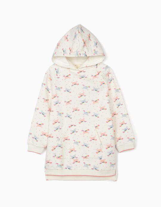 Hooded Dress for Girls 'Unicorns', White
