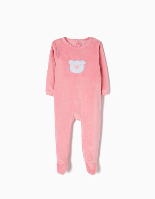 Pink Velour All-In-One, Bear