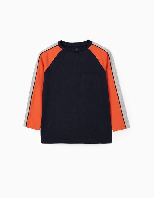 Camiseta de Manga Larga para Niño, Azul/Gris/Naranja