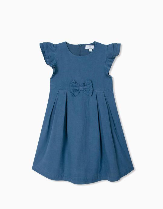 Robe en lin fille, bleu