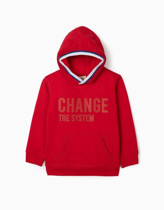 Sweat à capuche garçon 'Change the System', rouge