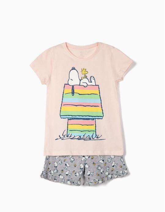 Pijama para Niña 'Snoopy', Rosa y Gris