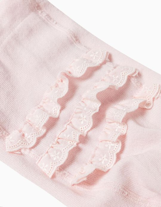 Knit Tights with Ruffles for Baby Girls, Light Pink