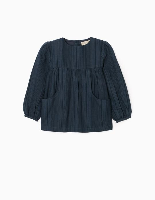 Striped Blouse for Girls, Dark Blue